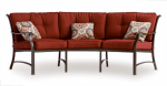 Patio Master S3-ACH03629 Lisbon Patio Collection 3-Pc. Sectional Set, Wine Colored Cushions, Aluminum Frame