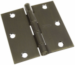 National Mfg/Spectrum Brands Hhi N830-178 Door Hinge, Interior, Square-Edge, Antique Brass, 3-In.