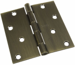 National Mfg/Spectrum Brands Hhi N830-177 Door Hinge, Interior, Square-Edge, Antique Brass, 4-In.