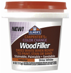Elmer's Product E915 Color Change Interior Wood Filler, White, 4-oz.