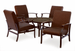 Letright Industrial 710.099.000 Vernon Patio Seating Set, All-Weather Wicker & Brown Steel, 5-Pc.