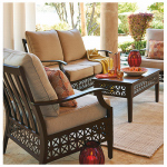 Letright Industrial 713.006.000 Clouet Patio Collection 4-Pc. Seating Set, Oatmeal Cushions & Wood-Tone Aluminum