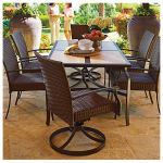 Letright Industrial 720.082.000 Vernon Patio Collection 7-Pc. Dining Set, All-Weather Wicker & Brown Steel