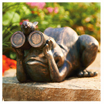 Allen Group Intl AG59040 Lawn Statue, Frog With Binoculars, Copper Fiberglass