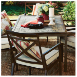 Courtyard Creations 14S7666B Geneva Patio Collection Dining Table, Cement Stone & Brown, 66 x 40-In.