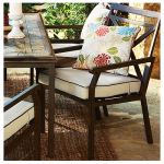 Courtyard Creations KTS6331 Geneva Patio Collection Cushion Dining Chair, Light White & Brown Fabric, Must Purchase in Quantities of 4