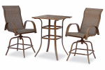 Courtyard Creations STS3X35 Madison 3-Pc. Bistro / Balcony Set, Steel Frame, Taupe Sling Fabric