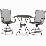 Woodard Cm RXTV-08BCT Uptown 3-Pc. Bistro / Balcony Set, Motion Chairs, Black Steel