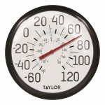 Taylor Precision Products 90007-000-000 13-1/4-Inch Diameter White Outdoor Dial Thermometer