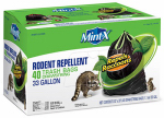 Mint X MX3339B40DS Rodent Repellent Trash Bags, Drawstring, 33-Gal.
