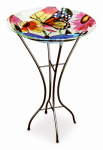 Gerson 2066210 Bird Bath, Butterflies & Flowers, Glass With Metal Stand, 26.5-In.