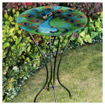 Gerson 2066220 Bird Bath, Peacock, Glass With Metal Stand, 26.5-In.