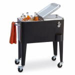 Sunjoy Group Intl Pte L-BC114PST-B4 Cooler, Black With Stainless-Steel Lid, 60-Qts.