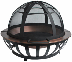 Zhejiang Yayi Metal Technology FT-71016 Saratoga Fire Pit, Solid Copper Bowl & Steel Frame, Mesh Screen, 40-In. Round