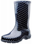 Principle Plastics 5013BP08 Tall Boot, Black Polka Dot, Women's Size 8