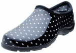 Principle Plastics 5113BP08 Garden Shoe, Black & White Polka Dot, Women's Size 8