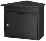 Solar Group BWKH0B02 Barlowe City Mailbox, Wall-Mount, Locking, Black Steel, 13.8 x 15.3 x 8.1-In.