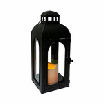 Smart Solar HY1011S LED Patio Lantern, Traditional, Black Metal, 11-In.