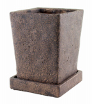 Syndicate Home & Garden 7910-04-902 Tapered Square Cement Planter, Brown, 4.5-In. x 4.5-In. x 5-In.