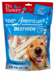 Pet Factory 78101 Dog Treats, American Beefhide Rawhide Treat, 10-Pk.