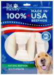 Pet Factory 78103 Dog Treats, American Beefhide Rawhide Treat, Medium, 4-Pk.