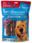 Pet Factory 78111 Dog Treats, American Beefhide Rawhide Rolls, 4-Pk.