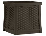 Suncast BMDB1310 Deck Box Side Table, Wicker-Look Resin, 13-Gal.