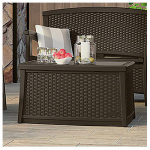 Suncast BMDB3010 Deck Box Coffee Table, Wicker-Look Resin, 30-Gal.
