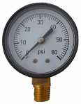 Jed Pool Tools 80-845 Pool Pressure Gauge, Bottom Mount, 0-60 PSI