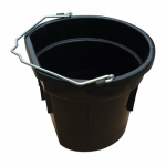 Qingdao Huatian Hand Truck MR20QP/FSB-BLK Utility Bucket, Flat Sided, Black Resin, 20-Qts.