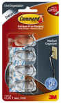 3M 17301CLR Cord Organizers With Adhesive Strips, Clear, Medium, 4 Clips/5 Strips