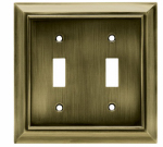 Brainerd Mfg Co/Liberty Hdw W10085-AB-U Toggle Wall Plate, 2-Gang, Architectural, Antique Brass Zinc