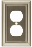 Brainerd Mfg Co/Liberty Hdw W10086-SN-U Duplex Wall Plate, 1-Gang, Architectural, Satin Nickel Zinc