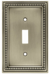 Brainerd Mfg Co/Liberty Hdw W10097-BSP-U Toggle Wall Plate, 1-Gang, Beaded, Brushed Pewter Zinc