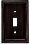 Brainerd Mfg Co/Liberty Hdw W10097-VBR-U Toggle Wall Plate, 1-Gang, Beaded, Venetian Bronze Zinc