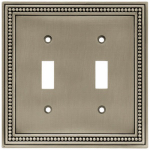 Brainerd Mfg Co/Liberty Hdw W10102-BSP-U Toggle Wall Plate, 2-Gang, Beaded, Brushed Pewter Zinc