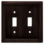 Brainerd Mfg Co/Liberty Hdw W10102-VBR-U Toggle Wall Plate, 2-Gang, Beaded, Venetian Bronze Zinc