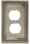 Brainerd Mfg Co/Liberty Hdw W10103-BSP-U Duplex Wall Plate, 1-Gang, Beaded, Brushed Pewter Zinc
