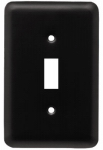 Brainerd Mfg Co/Liberty Hdw W10245-FB-U Toggle Wall Plate, 1-Gang, Stamped, Round, Matte Black Steel
