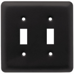 Brainerd Mfg Co/Liberty Hdw W10246-FB-U Toggle Wall Plate, 2-Gang, Stamped, Round, Matte Black Steel