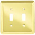 Brainerd Mfg Co/Liberty Hdw W10246-PB-U Toggle Wall Plate, 2-Gang, Stamped, Round, Polished Brass Steel