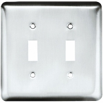 Brainerd Mfg Co/Liberty Hdw W10246-PC-U Toggle Wall Plate, 2-Gang, Stamped, Round, Polished Chrome Steel