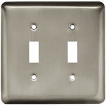 Brainerd Mfg Co/Liberty Hdw W10246-SN-U Toggle Wall Plate, 2-Gang, Stamped, Round, Satin Nickel Steel