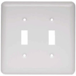 Brainerd Mfg Co/Liberty Hdw W10246-W-U Toggle Wall Plate, 2-Gang, Stamped, Round, White Steel