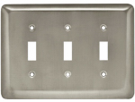 Brainerd Mfg Co/Liberty Hdw W10247-SN-U Toggle Wall Plate, 3-Gang, Stamped, Round, Satin Nickel Steel