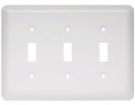 Brainerd Mfg Co/Liberty Hdw W10247-W-U Toggle Wall Plate, 3-Gang, Stamped, Round, White Steel