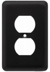Brainerd Mfg Co/Liberty Hdw W10249-FB-U Duplex Wall Plate, 1-Gang, Stamped, Round, Matte Black Steel