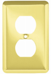Brainerd Mfg Co/Liberty Hdw W10249-PB-U Duplex Wall Plate, 1-Gang, Stamped, Round, Polished Brass Steel