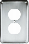Brainerd Mfg Co/Liberty Hdw W10249-PC-U Duplex Wall Plate, 1-Gang, Stamped, Round, Polished Chrome Steel