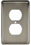 Brainerd Mfg Co/Liberty Hdw W10249-SN-U Duplex Wall Plate, 1-Gang, Stamped, Round, Satin Nickel Steel